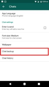button of chat Backup
